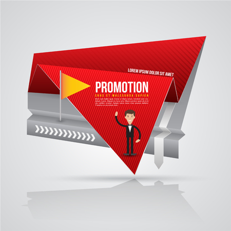 sale sticker: Paper origami banner with business man. Vector illustration. Can use for promotion advertising on printing and website. Illustration