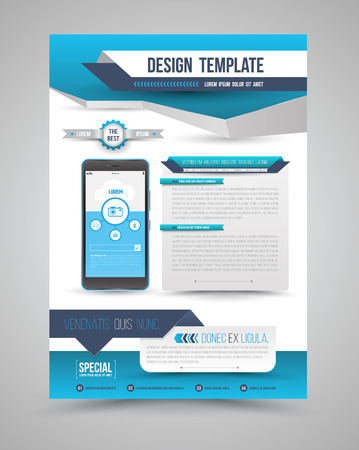 Template modern origami design with smartphone can use for brochure, leaflet, Magazine, cover book, poster and advertising. Vector illustration. Vettoriali