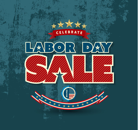 sales: Labor day sale poster. Vector illustration. Can use for advertising and banner promotion.