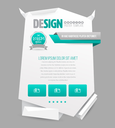 newsletter template: Paper origami poster template. Vector illustration. Can use for promotion, advertising, website, printing and document template for business presentation. Illustration