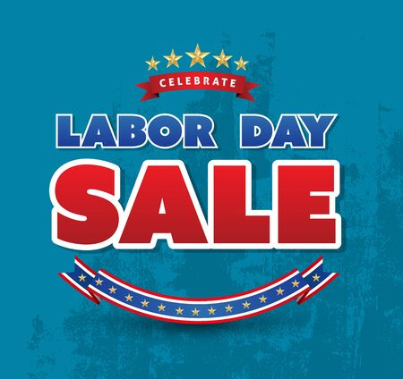 Celebrate labor day sale poster. Vector illustration. Can use for promotion for Labor day. Çizim
