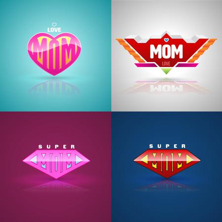 mujer: Establece logotipo divertido súper mamá. ilustración vectorial. Se puede utilizar para la madre tarjeta de felicitación del día.