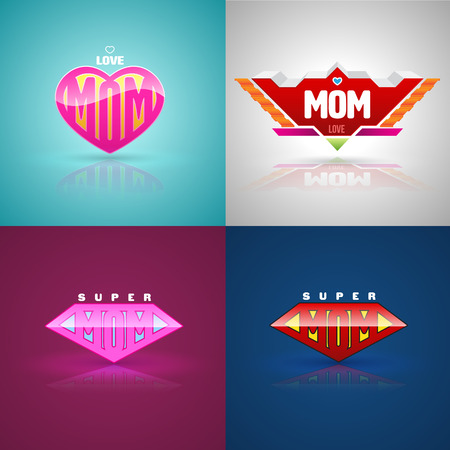 super woman: Funny super mom logo set. vector illustration. Can use for mother day greeting card.