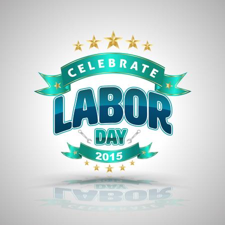 badge vector: Celebrate labor day badge. Vector illustration. Illustration