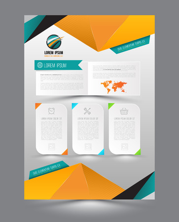 business flyer: Vector design page template origami modern style. Vector illustration. Can use for business data report, presentation, web page, brochure, leaflet, flyer, poster and advertising.