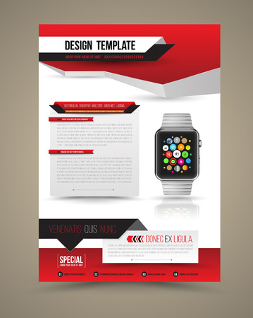 flyer background: Abstract design vector template layout with smart watch for magazine brochure flyer booklet cover annual report in A4 size. Vector illustration. Illustration