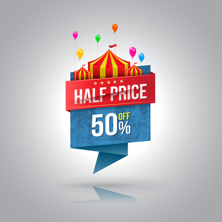 Half price banner with circus. Vector illustration. Can use for promotion advertising.