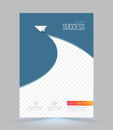 magazine page: Cover template with paper origami airplane. Can be used for brochures, banners, page magazines, leaflet design, travel posters.