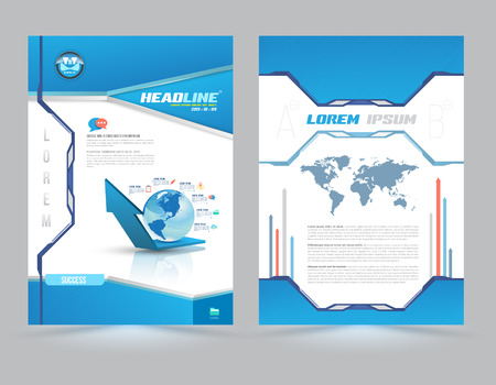 newsletters: Cover page layout template technology style. Vector illustration. Can use for Leaflet, brochure, book, magazine, document template and business report cover. Illustration