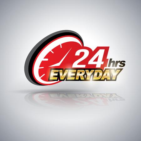 Vierentwintig uur per dag elke dag. Vector illustratie. Kan gebruiken voor service reclamebureau. Stock Illustratie