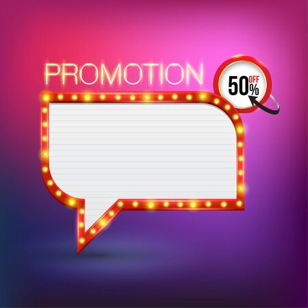 pop up: Retro neon promotion glowing banner. Vector illustration. Can use for pop up advertising. web and printing banner vector. Stock Illustratie