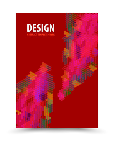 Book cover template red background design. Vector illustration. Can use for cover magazine, book, brochure, leaflet and publication.