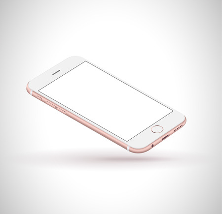 New realistic mobile phone smartphone iphon style mockup with pink screen isolated on white background. Vector illustration. Imagens - 45936537