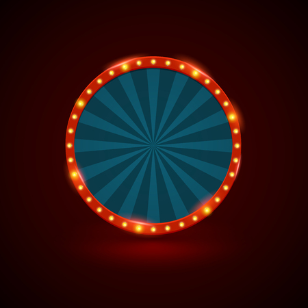 Circle retro light banner with light bulbs on the contour. Vector illustration. Can use for promotion advertising.