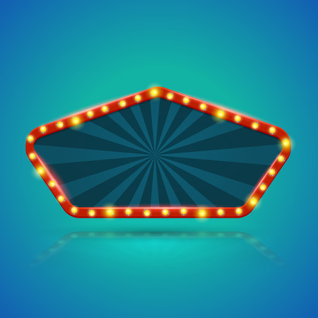 nightclub bar: Pentagon retro light banner with light bulbs on the contour. Vector illustration. Can use for promotion advertising.