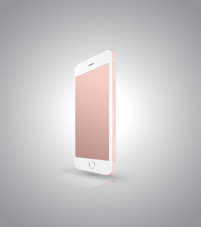palmtop: New realistic mobile phone smartphone iphon style mockup with pink screen isolated on white background. Vector illustration.