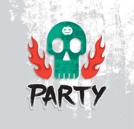 skull vector: Poster party with skull vector illustration. Illustration