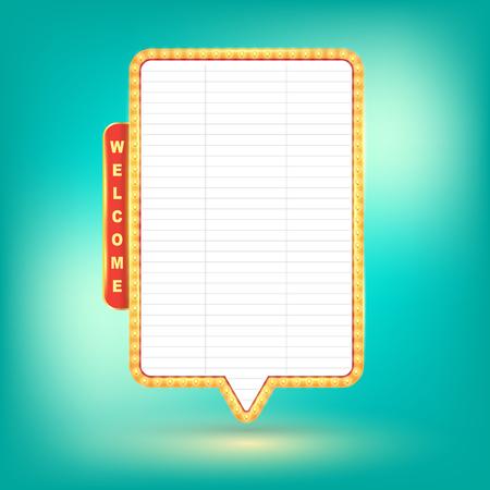 letrero: Vector retro cartelera, letrero luminoso, bandera luz. Ilustración del vector.