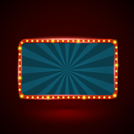 Round rectangle retro light banner with light bulbs on the contour. Vector illustration. Can use for promotion advertising.