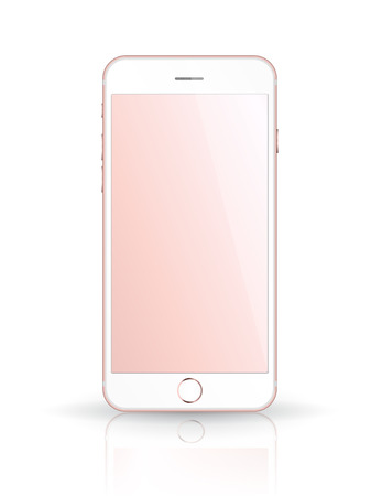 iphon: New realistic mobile phone smartphone iphon style mockup with pink screen isolated on white background. Vector illustration.