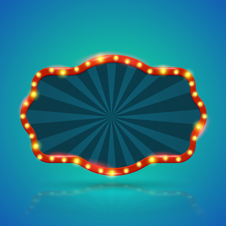 Abstract retro light banner with light bulbs on the contour. Vector illustration. Can use for promotion advertising. Çizim