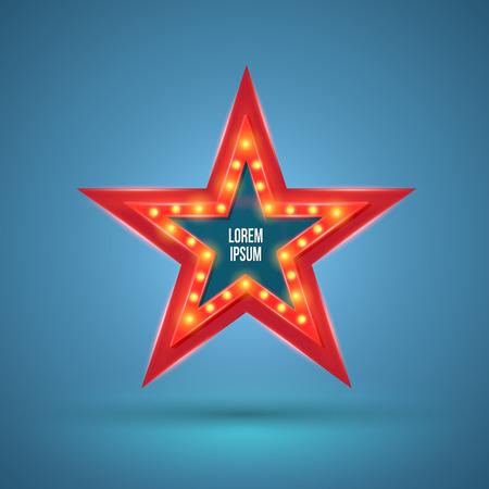 cinta pelicula: Bandera de la estrella retro luz con bombillas de luz en el contorno. Ilustración del vector. Se puede utilizar para la publicidad de promoción.