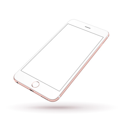 New realistic mobile phone smartphone iphon style mockup with pink screen isolated on white background. Vector illustration. Stok Fotoğraf - 45936575