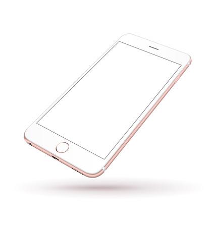 Nieuwe realistische mobiele telefoon smartphone iphon stijl mockup met roze scherm geïsoleerd op een witte achtergrond. Vector illustratie.