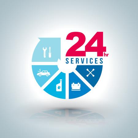 Servicios paso Círculo de flecha de 24 horas con iconos para servicio de coche. Ilustración del vector. para los servicios de coche concepto y los servicios de furgones negocio. Ilustración de vector