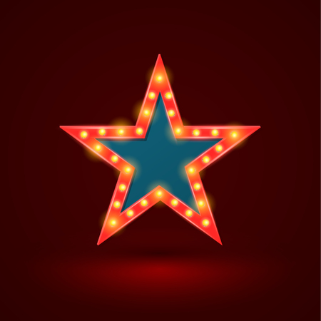 Star retro light banner with light bulbs on the contour. Vector illustration. Can use for promotion advertising. Illustration