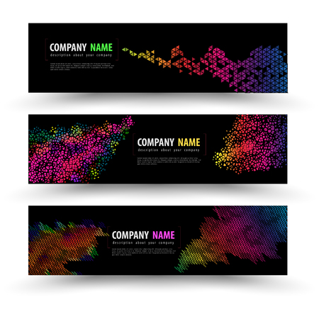 backdrop design: Vector banner templates set with geometry spectrum. Vector illustration.