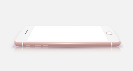 phones: New realistic mobile phone smartphone iphon style mockup with pink screen isolated on white background. Vector illustration.