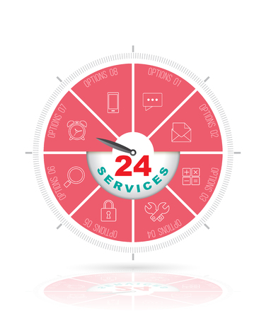 response time: Circle step with icons. 24 services concept.