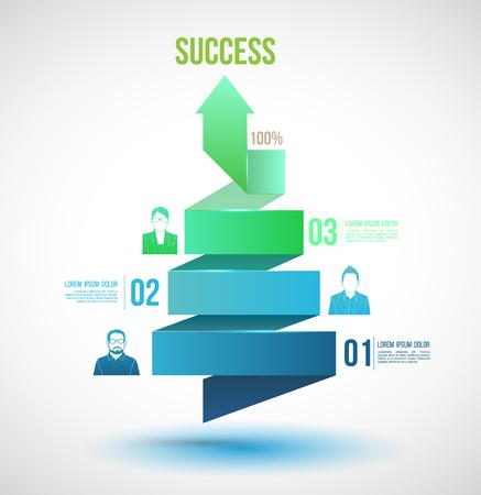 espiral: Flecha giro hasta opciones de números de éxito con los iconos. Vectores