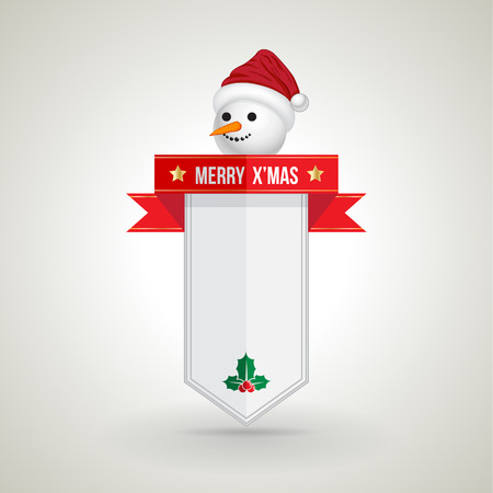 Snow man Xmas banner for Christmas Greeting Card. Merry Christmas lettering