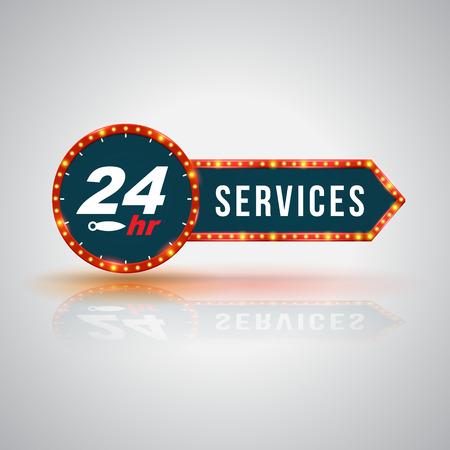 Arrow signboard 24hr Service Icon Çizim