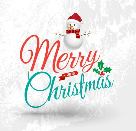 Merry Christmas Greeting Card with snow man. Merry Christmas lettering