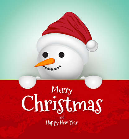 Snowman Christmas Greeting Card. Merry Christmas and happy new year lettering