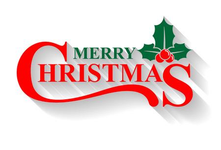 tipos de letras: tarjeta de felicitación de la Feliz Navidad, acebo elementos de diseño