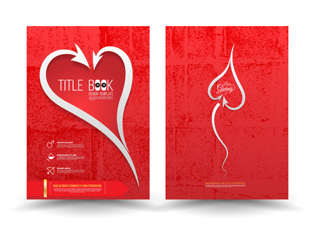 friend nobody: Arrows harmonious heart brochure template red background textured.