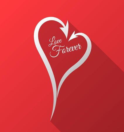 wedding love: Heart arrows with love forever. Vector illustration. Can use for valentines, wedding, lettering card.