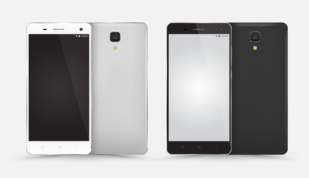front and back: Smartphone mockup front back set with blank screen isolated on white background.