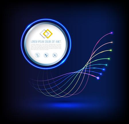 Abstracte golf van glasvezeltechnologie verbindingen concept met cirkel.