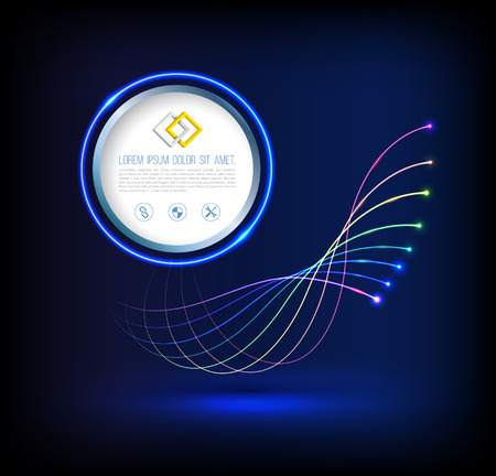 Abstract wave of fiber optic technology connections concept with circle. Vettoriali