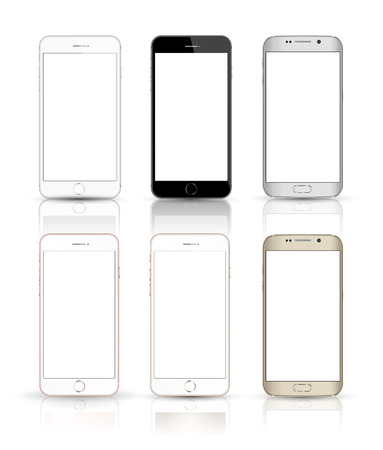 New realistic mobile phone smartphone collection iphon style mockups with blank screen isolated on white background. Çizim