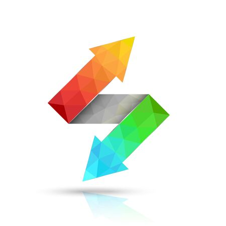 two way: Two way arrows up and down directions consisting of triangles. Vector illustration.