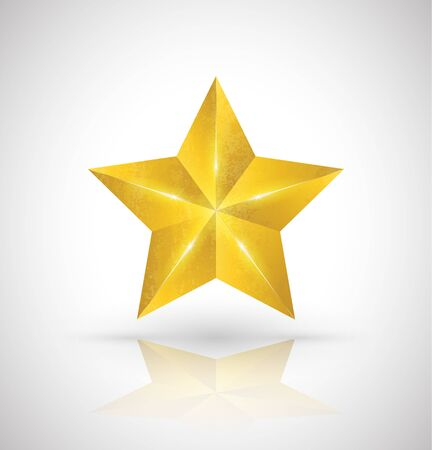 jewell: Gold star vector 3D style. Vector illustration. Illustration