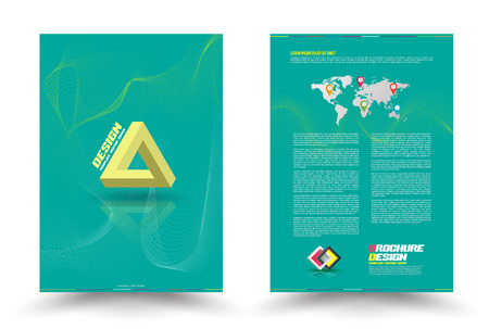 magazine cover: Vector brochure with Triangle optical use for flyer, magazine cover & poster template.