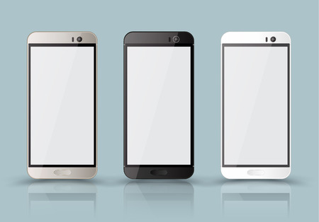mobile phone screen: New realistic mobile phone smartphone collection mockups with blank screen isolated.