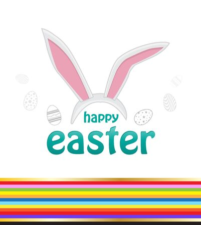 animal ear: Happy easter cards illustration with easter bunny, easter rabbit